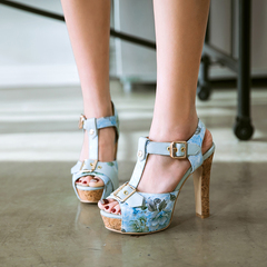 AnSoph 1 Pair Floral T Strap Sandals Women Slingback Dating Shoes Summer Block Heels Platform Shoes blue 35