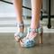 AnSoph 1 Pair Floral T Strap Sandals Women Slingback Dating Shoes Summer Block Heels Platform Shoes blue 35