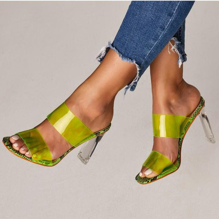 AnSoph 1 Pair Transparent Shoes Heels Slip-On Women Neon Sandals Sexy Party Summer Shoes Plus Size green 35