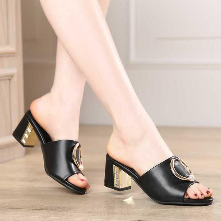 AnSoph 1 Pair Women Genuine Leather Sandal Ladies Mujer Summer Shoes Fishnose Heel Elegant Slippers black 35