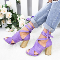 AnSoph 1 Pair Women Pointed Sandal Women Pumps Ankle Cross Strap Sandals Dress Party Shoes Zapatos purple 35