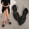 AnSoph 1 Pair Women Sandals T-strap Non-Slip Outdoor Beach Women Jelly Shoes Pointed Summer Flats black 35
