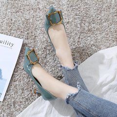 AnSoph 1 Pair Women Pointed Pump Patent Ladies Buckle Count Work Pump Shoe Heeled Shoe blue 35