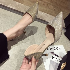 AnSoph 1 Pair  Pump Women HeeledLadies Glitter Pointed Court Shoe Sexy Fashion Party Dress Shoe gold 35