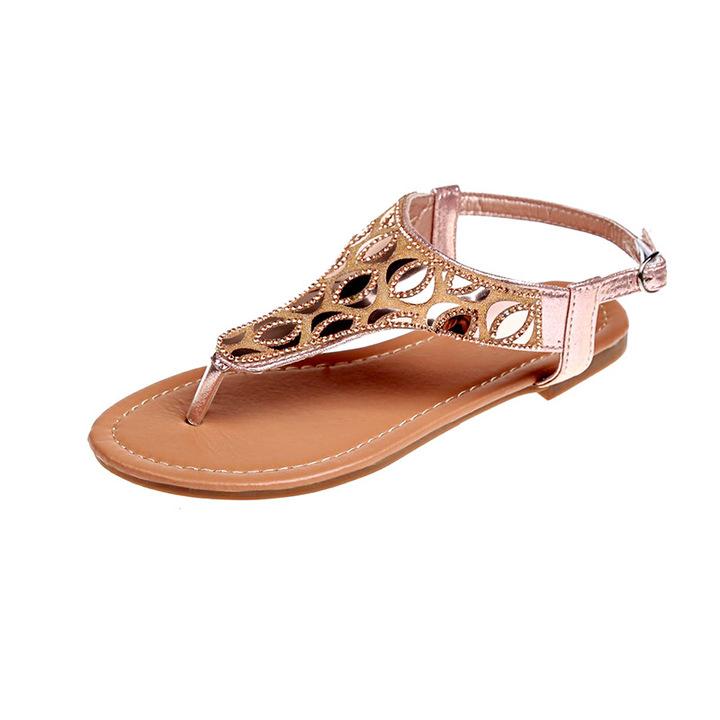 AnSoph 1 Pair Women Gladiator Sandal Ladies Flat Shoes Ethnic Flipflop Mojari 001 Pink 36