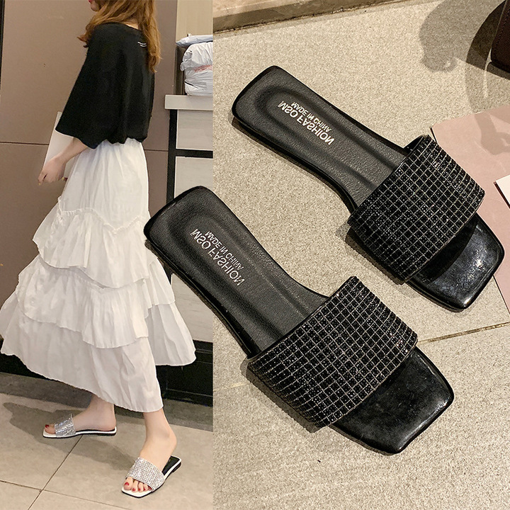 AnSoph 1 Pair Sequin Sandal Women Ladies Flat Fish Toe Elegant Flip Flop Sandal Beach Shoe black 38