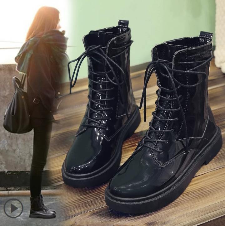AnSoph 1 Pair Lace Up Boots Women Ladies Martin Patent Shining Bootie Fashion Shoe Outdoor Bootie black matt 36
