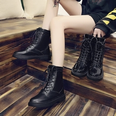 AnSoph 1 Pair Lace Up Boots Women Ladies Martin Patent Shining Bootie Fashion Shoe Outdoor Bootie black patent 38
