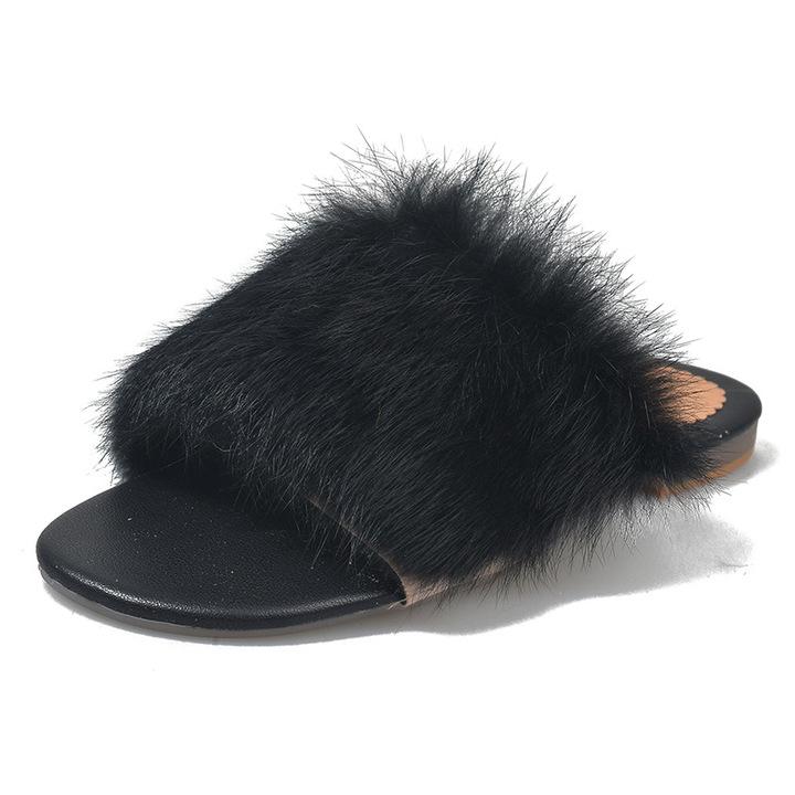 AnSoph 1 Pair Fur PomPom Sandal Women Ladies Flat Fashion Colorful Slipper Indoor Outdoor Shoe black 35