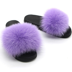 Pinky 1 Pair Women Fox Fur Pompom Slippers Luxury Indoor Outdoor Sandals Summer Slip On Shoes light pink 35-36