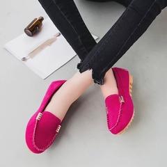 Pinky 1 Pair Women Fuax Suede Loafer Ladies Flat Comfortable Work Sho Summer Slip On Slides Shoes fushia 36