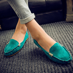 Pinky 1 Pair Women Fuax Suede Loafer Ladies Flat Comfortable Work Sho Summer Slip On Slides Shoes blue 37