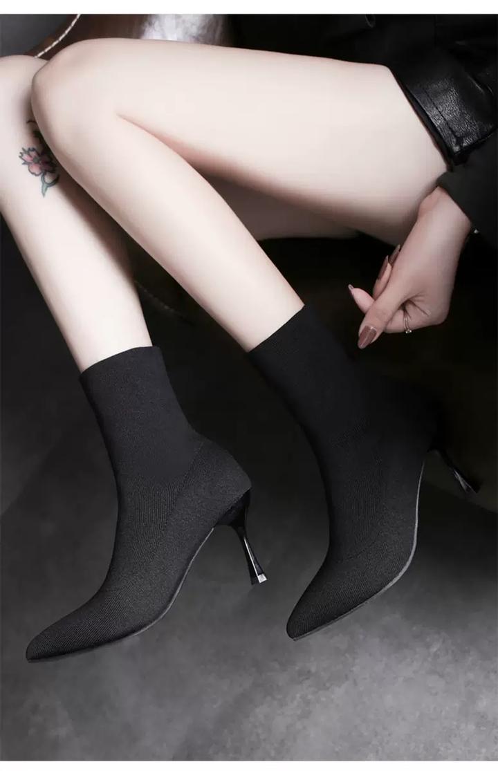 Pinky 1 Pair Women Lycar Boots Heel Sexy Slip On Slip Elastic Bootie Shoes black 35