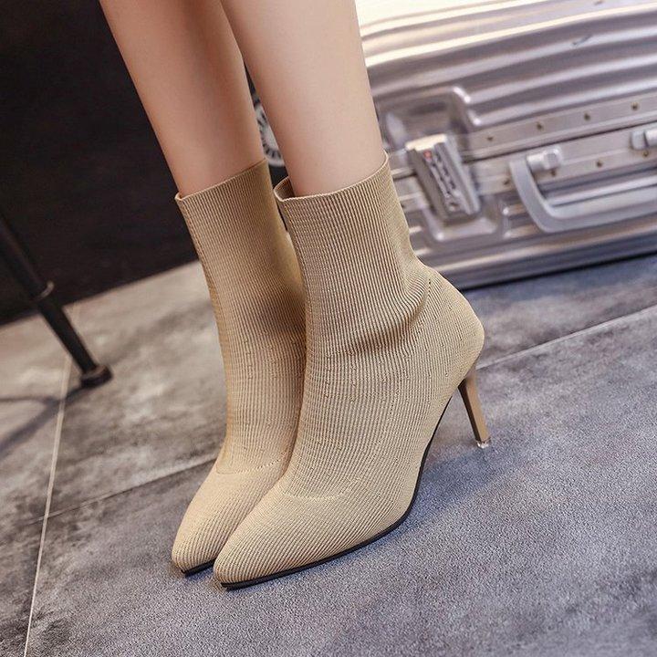 Pinky 1 Pair Women Lycar Boots Heel Sexy Slip On Slip Elastic Bootie Shoes khaki 39
