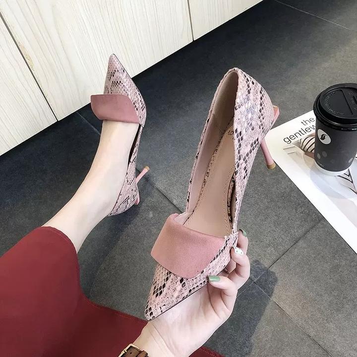 AnSoph 1 Pair Heeled Pump Ladies Pointed Snake PU Court Work Shoe Autumn New Sexy Dress Shoe pink 35