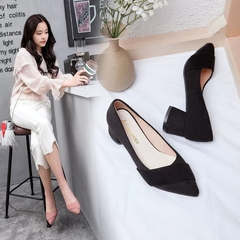 AnSoph 1 Pair Heeled Pump Ladies Pointed Snake Faux Suede Work Shoe Autumn New Sexy Dress Shoe black 35