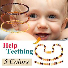 Baltic Baby Amber Teething Necklace Bracelet Amber Jewelry for Baby yellow&brown 13inch necklace Multicolor 13inch Necklace