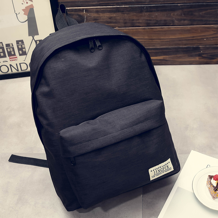Men Canvas Backpack College School Backpack Bags for Teenagers Casual Rucksack Travel Daypack navy blue one size