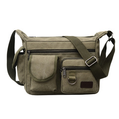 Men's Canvas Single Shoulder Bag Large Capacity Business Casual Outdoor Backpack Travel Bags for Men military green one size