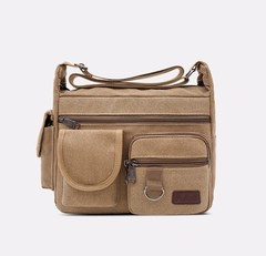 Men's Canvas Single Shoulder Bag Large Capacity Business Casual Outdoor Backpack Travel Bags for Men khaki one size