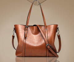 Women bag Oil wax Women's Leather Handbags Lady Handbags With Purse Pocket Women messenger bag brown one size