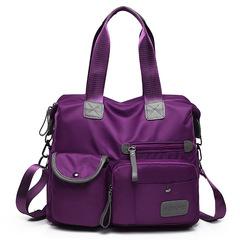 2018 Women Travel Bag Diagonal Bags Large Capacity Waterproof Nylon Handbag Female Shoulder Bags purple one size
