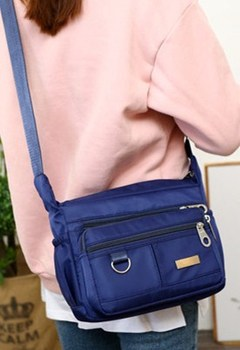 Women Fashion Solid Color Zipper Waterproof Nylon Shoulder Bag Crossbody Bag Handbags Women navy one size