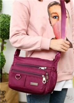 Women Fashion Solid Color Zipper Waterproof Nylon Shoulder Bag Crossbody Bag Handbags Women purple one size