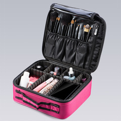 Professional Cosmetic Bag Women Travel Make Up Cases Big Capacity Cosmetics Suitcases For Makeup rose red