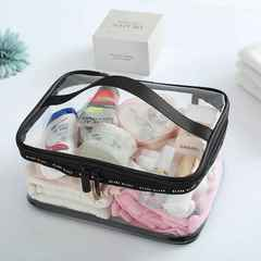 Waterproof Transparent PVC Bath Cosmetic Bag Women Make Up Case Travel Makeup Wash Storage Kit square L one size
