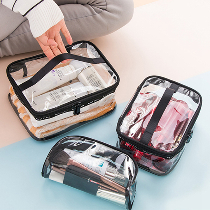 Waterproof Transparent PVC Bath Cosmetic Bag Women Make Up Case Travel Makeup Wash Storage Kit Square M one size