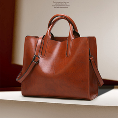 Ladies Oil wax Leather hand bag for Women Handbags Luxury Casual Tote large Travel Shoulder Bag brown one size