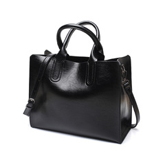 Ladies Oil wax Leather hand bag for Women Handbags Luxury Casual Tote large Travel Shoulder Bag black one size