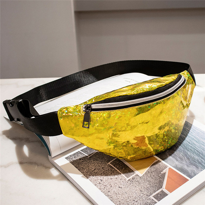 Fashion Bling Leather Waist Packs Women Waist Bag Belt Bag Female Pouch PU Casual Fanny Pack Bag gold one size