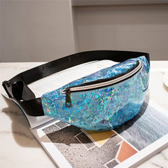 Fashion Bling Leather Waist Packs Women Waist Bag Belt Bag Female Pouch PU Casual Fanny Pack Bag blue one size