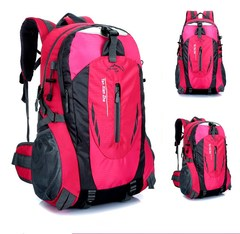 40L Men Backpack Unisex Mountaineering Bag Nylon Waterproof Bags Travel Backpacks Sports Bags rose red 40 L