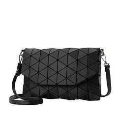 Matte Women Evening Bags Shoulder Bag Girls Handbag Geometric Plaid Casual Clutch Messenger Bags black one size