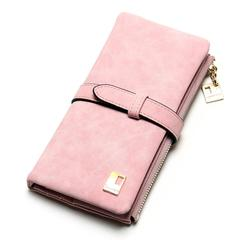 New Women Wallets Drawstring Nubuck Leather Zipper Wallet Women's Long Design Purse Two Fold Clutch pink one size