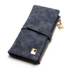 New Women Wallets Drawstring Nubuck Leather Zipper Wallet Women's Long Design Purse Two Fold Clutch black one size
