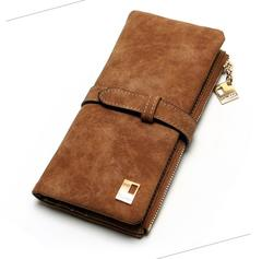 New Women Wallets Drawstring Nubuck Leather Zipper Wallet Women's Long Design Purse Two Fold Clutch coffee one size