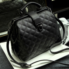 Women Handbags PU Leather Vintage Doctor Bags Diamond Lattice Crossbody Bags For Women Shoulder Bags diamond plaid black one size