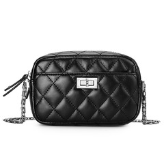 Diamond Lattice Women Clutch Bag PU Leather Ladies Handbags Camera Bag Crossbody Bags for Women black one size