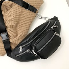 Casual Chain Leather Fanny Pack Waist Bag Female Antitheft Women Walking Shopping Multi-function Bag black one size