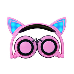 Game Headset Cat Ear Luminous Earphone Foldable Flashing Glowing Headset with light For PC Laptop pink