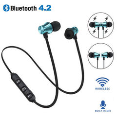 Bluetooth Earphone Headset waterproof sports 4.2 with Charging Cable Young Earphone Build-in Mic blue