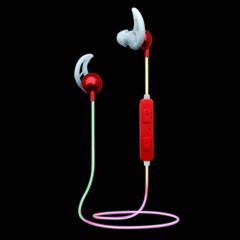 Colorful Light Bluetooth Earphone Wireless Sports Headphones HIFI Glowing Luminous Light Earbuds red