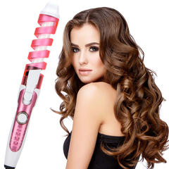Professional Hair Curler Magic Spiral Curling Iron Fast Heating Curling Wand Hair Styling Tool pink one size