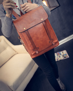 PU Leather Waterproof Backpack Women Preppy Style Simple Design Casual Male Laptop Backpack dark brown one size