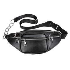 2019 Sports Leisure Outdoor  Chain  Chest Bag Single Shoulder Oblique Bag Men and Women Bag black one size