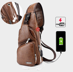 Men's Chest Bag Retro PU Leather Single Shoulder Bag Leisure Travel  Chest Pocket Cross Body Bag brown one size